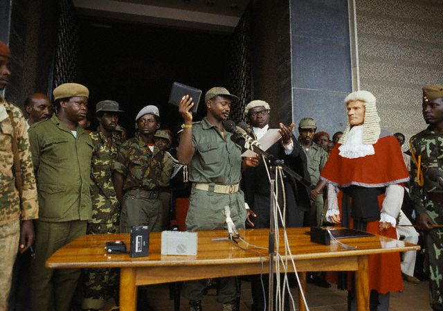 29 Jan 1986, Kampala, Uganda --- Yoweri Museveni has seized power. He commanded the National Resistance Army (NRA) in a rebellion against President Milton Obote and the military regime that succeeded him. He finally captured the capital city, Kampala, in January 1986. --- Image by © William Campbell/CORBIS