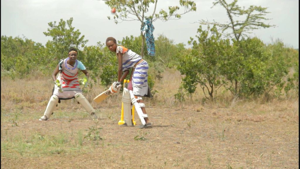 Maasai girls playing cricket in their village Endana in Laikipia. Sonyanya Ole Ng'ais, the team's captain founded the Maasai Ladies Cricket Team.