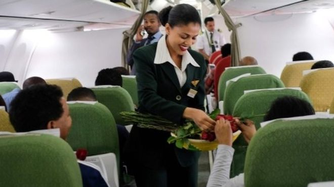 Champagne as historic commercial flight links Ethiopia and Eritrea