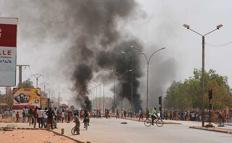 Protests along the streets of Burkina Faso