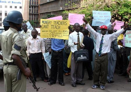 Ugandan primary school teachers demonstrate for pay rise in Kampala.