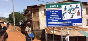 Awareness sign during the Ebola outbreak in Guinea and Sierra Leone