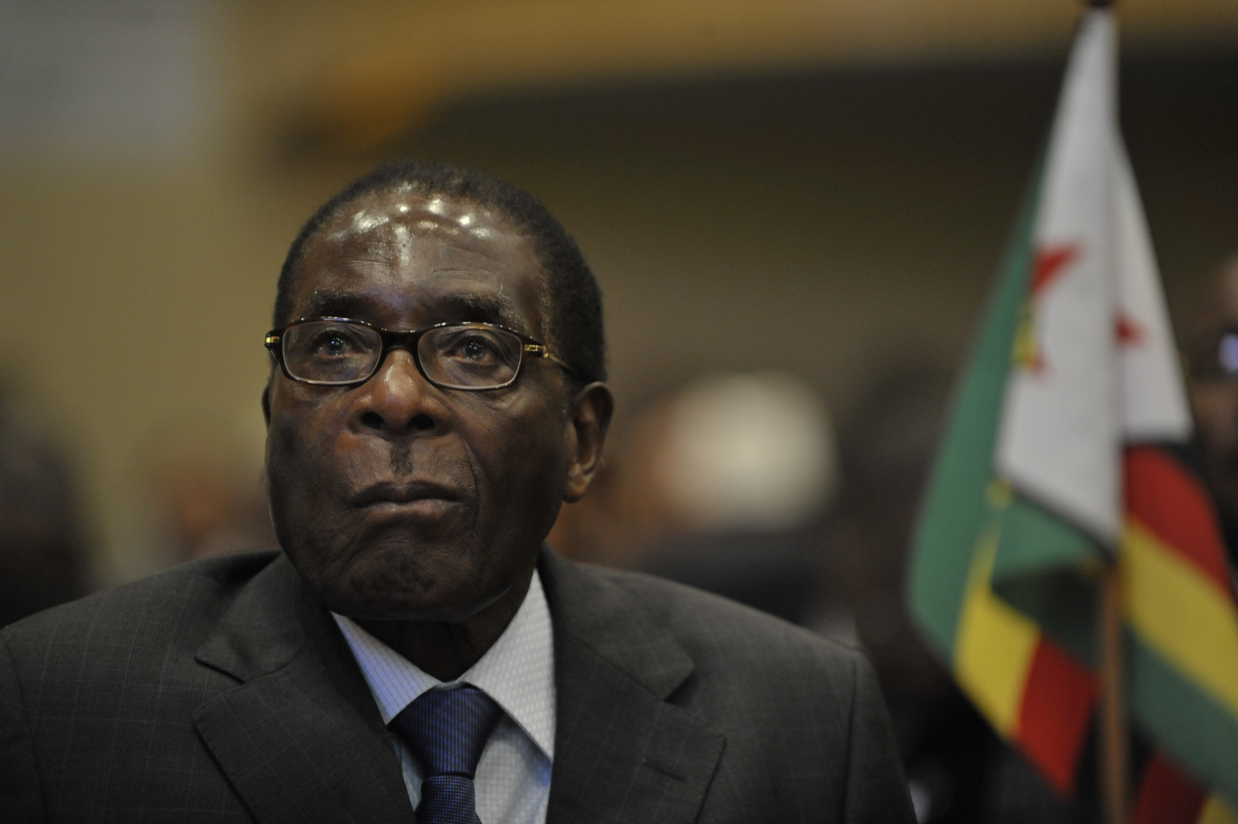 Robert Mugabe, president of Zimbabwe, attends the 12th African Union Summit Feb. 2, 2009 in Addis Ababa, Ethiopia. The assembly agreed to a schedule for the formation of Zimbabwe's new unity government, calling for the immediate lifting of sanctions on the country. (U.S. Navy photo by Mass Communication Specialist 2nd Class Jesse B. Awalt/Released)