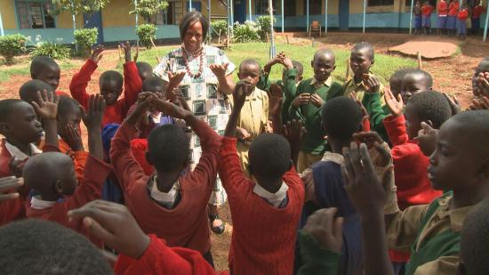 Sister Florence with the orphans she helps