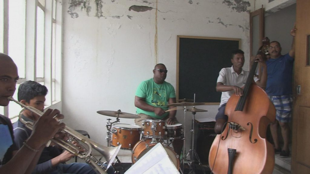 Students in one of the classes learning how to play various instruments. Phillipe teaches them.