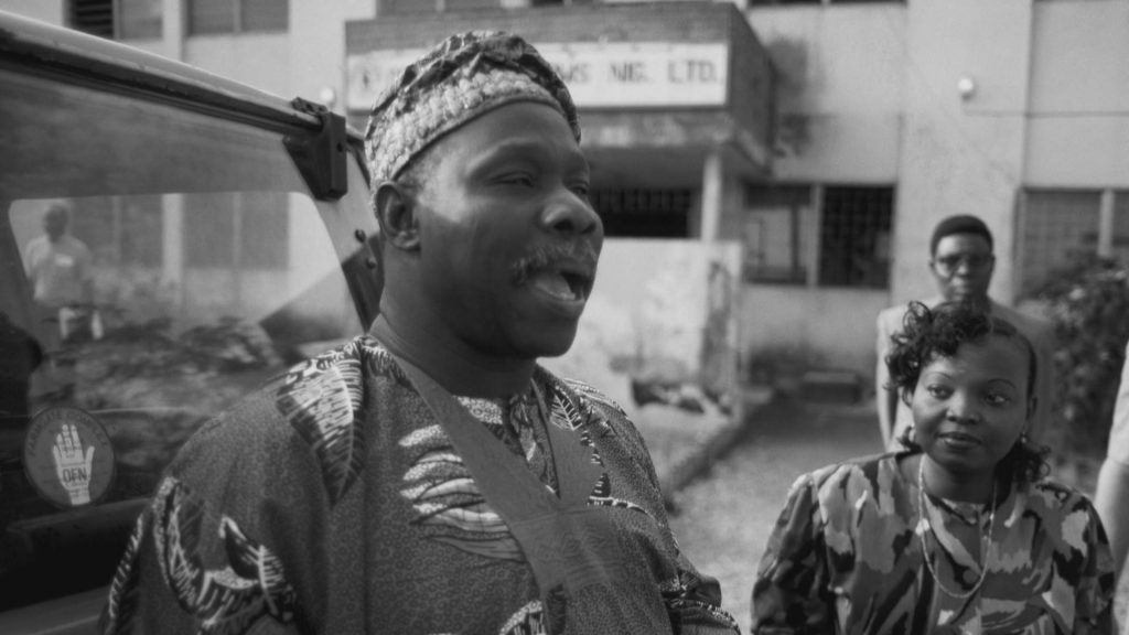 Olusegun Obasanjo, former president of Nigeria addressing a crowd during the Biafra War which took place between 6th July 1967 and 15th January 1970.