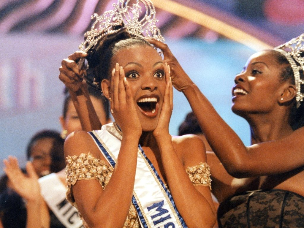 Mpule Kwelagobe, a Batswana model and social entrepreneur crowned Miss Universe beauty pageant winner in 1999.