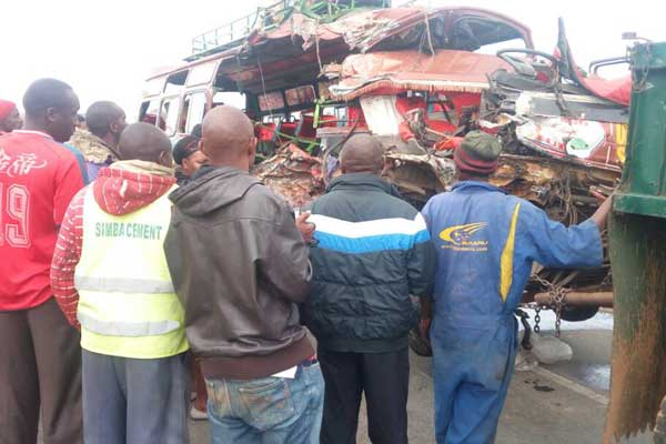 The minibus was ferrying passengers commuting from Mtito-Andei to Nairobi when it collided head-on with a truck at 07:30 am. Image courtesy: The Nation