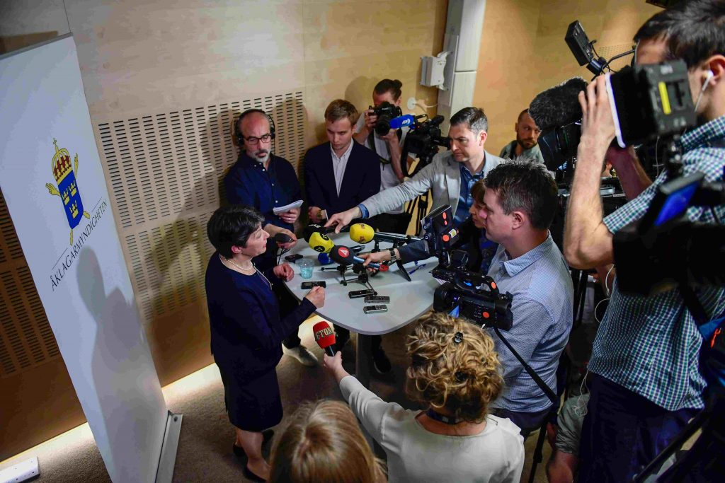 Prosecutor Marianne Ny (L) attends a press conference in Stockholm on May 19, 2017. /AFP Photo