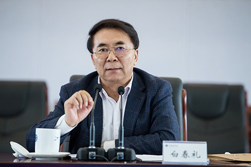 Bai Chunli, president of the Chinese Academy of Sciences (CAS) and deputy director of the Chinese Encyclopaedia's editorial board, speaks at a meeting at the headquarters of the CAS in Beijing, April 11, 2017. [Photo: gov.cn]