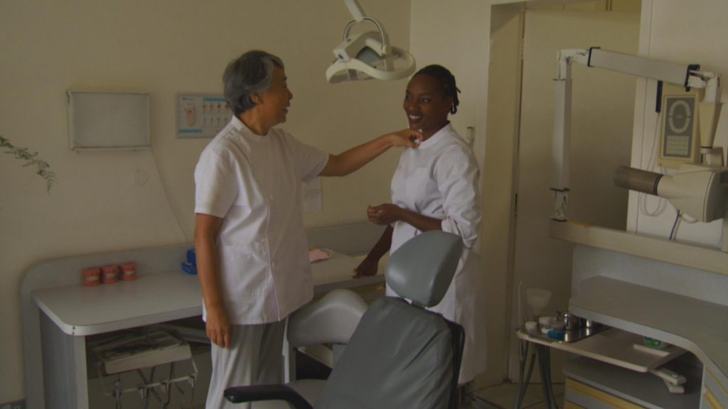 Dr. Gao with Faith, her assistant dentist