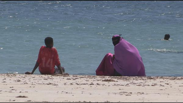 Mogadishu residents relax at the beach. Before AMISOM pushed Al-Shabab out of the Somali capital, going to the beach was strictly forbidden
