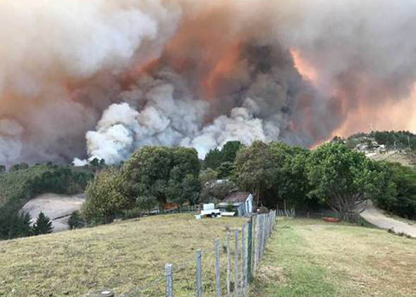 Fires burn at Buffelsvermaak farm near Knysna, South Africa June 7, 2017. Strong winds fanned fires which destroyed houses and prompted the evacuation of thousands of residents. Picture taken June 7, 2017. REUTERS/Simone Terblanche