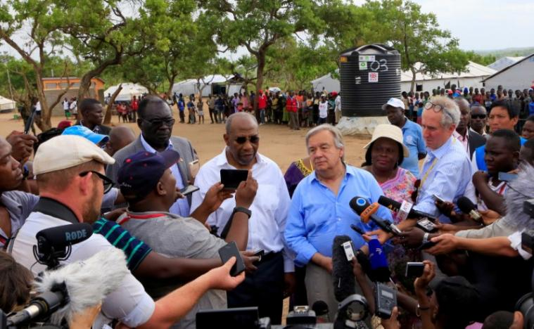 UN Secretary General Antonio Guterres addresses the media soon his tour of Imvepi, where south Sudanese refugees are settled, in northern Uganda June 22, 2017. REUTERS/James Akena