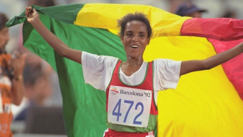 Derartu Tulu after her Olympic Gold win in Barcelona in 1992. She became the first Africa woman to take the 10,000m title. Derartu was trained by coach Sentayehu.