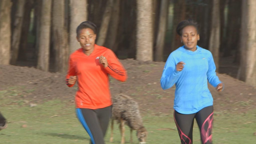 Mame Girma (left) and Meskerem Guta (right) training on their own. They are coach Sentayehu's students and he has high hopes that they will become the next professional athletes.