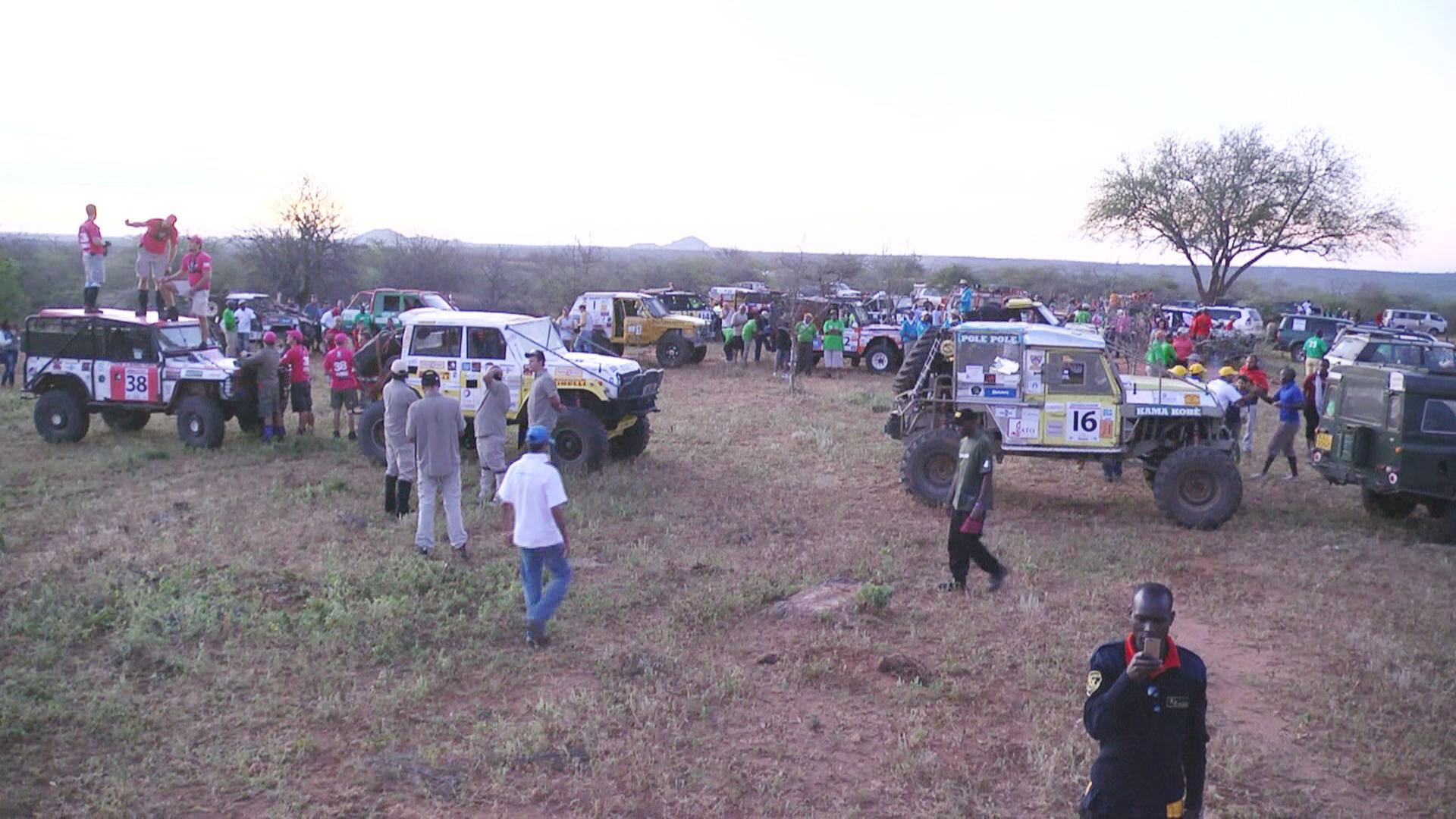 Rhino Charge competitors converge at the Kalepo Conservancy in Northern Kenya for the 2015 race.