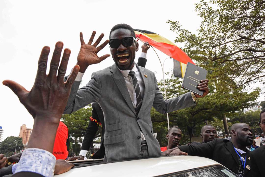 Bobi Wine celebrating his win. Picture courtesy