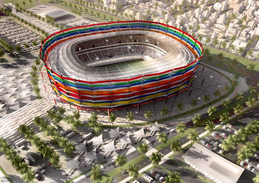 Qatar, a country with a negligible football background or infrastructure, was a controversial winner of the right to host the 2022 World Cup, which will be held in November and December to minimise the impact of the desert state's harsh climate. Image courtesy: e-architect