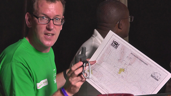 Team 23 navigator showing the map of the Kalepo conservancy in Northern Kenya that the team will figure out the shortest distance through the 13 check-points.