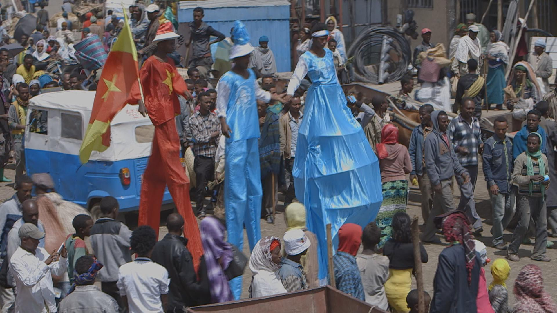The performers of the Circus engaging in a social event where they promoted the work of a local organization, Marie Stopes