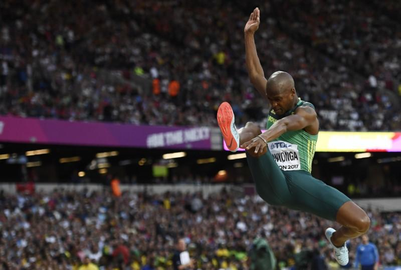 World Athletics Championships – Men's Long Jump Final - London Stadium, London, Britain - August 5, 2017. Luvo Manyonga of South Africa in action. Image courtesy: REUTERS/Dylan Martinez